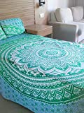 Handicraftofpinkcity Reversible Green Duvet Cover Throw Handmade Cotton Quilt Cover Reversible Boho Doona Cover Indian Mandala Duvet With 2 Pillow Case