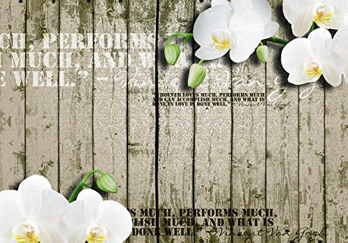 wandmotiv24 Fototapete Holz Zaun weiße Orchidee S 200 x 140cm - 4 Teile Fototapeten, Wandbild, Motivtapeten, Vlies-Tapeten Abstrakt, Blumen, Wand M0539