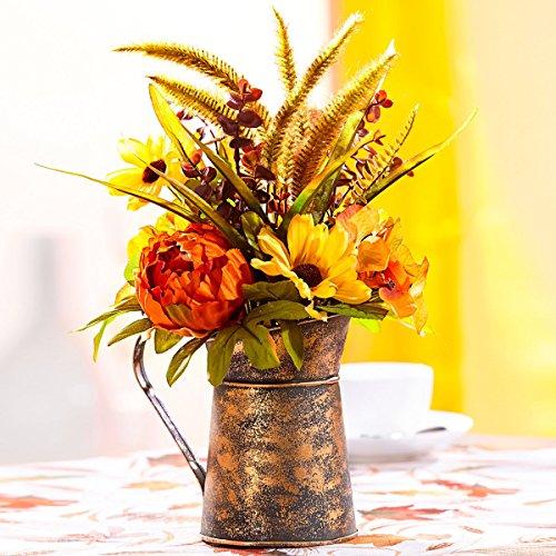TRI Herbst-Gesteck Antik, Herbstliches Blumengesteck in Einem Untertopf aus Metall, Farbenfroh Arrangiert als tolle Deko in der Ganzen Wohnung