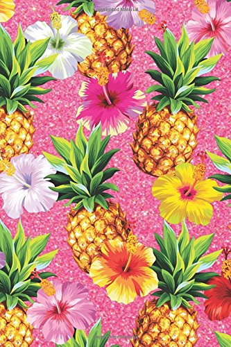 Bullet Journal Tropical Print: Glitter Pineapple 6x9 Dot Grid Notebook   Bright, Floral Style