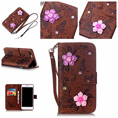 """iPhone 7 Plus Coque Élégant Filles Cuir Portefeuille Etui Rabat Style 3D Rose Fleur Papillon Embossage Serie Case pour Apple iPhone 7 Plus 5.5"""" Marron"""