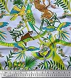 Soimoi Blau Kreppseide Stoff Äste, Papageien & Leopard