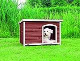 TRIXIE Natura Hundehütte mit Flachdach braun, L: 104 × 72 × 68 cm, kastanienbraun/weiß