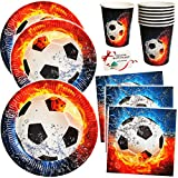 alles-meine.de GmbH 72 TLG. Set _ Pappbecher & Pappteller & Servietten -  Fußball - Flamme  - Becher Partygeschirr / Partyset - zum Geburtstag / Schulanfang - Weltmeisterschaft..