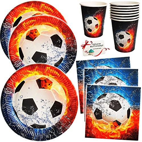 Unbekannt 36 TLG. Set _ Pappbecher & Pappteller & Servietten -  Fußball - Flamme  - Becher Partygeschirr / Partyset - zum Geburtstag / Schulanfang - Weltmeisterschaft..