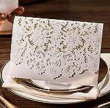 VStoy Laser-Schnitt-Hochzeits -Einladungen Karten Elegante Licht lila Blumen-Hochzeit Bevorzugungen Bogen Party Supplies mit Umschlag und Siegel 20 Stück (Weiß)