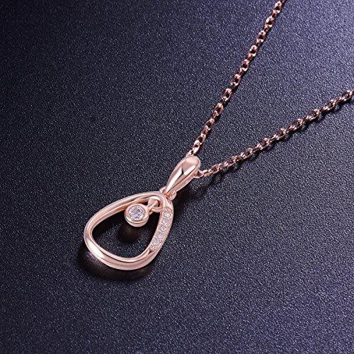 SWEETIEE-Collier en Pur Argent 925 Sterling femme,Pendentif oeuf creux micro pave zircon avec un zircon grand suspendu,400mm Platine
