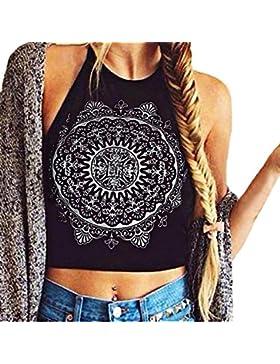 LHWY Mujeres Mandala impresión Tanque de Espalda Escotada Sin Mangas Crop Tops Chaleco Blusa Camiseta (XL, Negro)