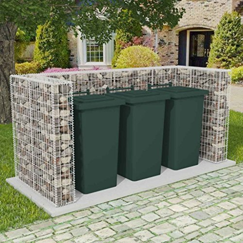 *Festnight Gabione Mülltonnenbox Mülltonnenverkleidung für 3 Mülltonnen U-förmig 250 x 100 x 120 cm Stahl*
