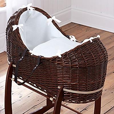 Británico de lujo oscuro pod noah pod izzy moses cesta con blancas cubiertas vestidores gofres. Soporte oscilante Deluxe incluido