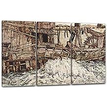 Egon Schiele - Antiguo molino(1916), 120 x 80 cm (3 x 40x80cm) (varios tamaños disponibles), Impresión de la lona enmarcada en el marco de madera genuino y listo para colgar, impresión de alta calidad hecha a mano. Estilo: expresionismo