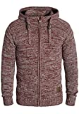 !Solid Pancras Herren Zip-Hoodie Strickjacke Cardigan mit Kapuze aus 100% Baumwolle Meliert, Größe:XL, Farbe:Wine Red Melange (8985)