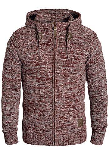 !Solid Pancras Herren Zip-Hoodie Strickjacke Cardigan mit Kapuze aus 100% Baumwolle Meliert, Größe:XXL, Farbe:Wine Red Melange (8985) (Zip-strickjacke)