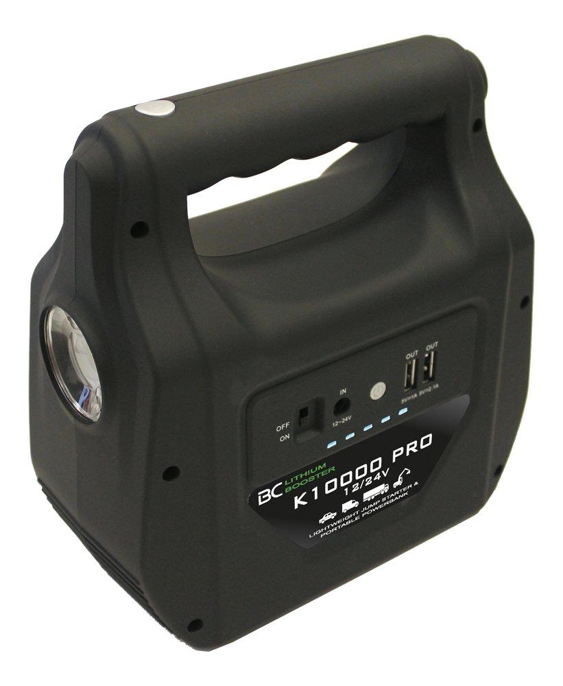 BC BOOSTER K10000 PRO – 12V/24V 1000A – Para motores hasta 12000cc + Linterna LED y luz para asistencia vial