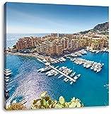 Atemberaubende Küste von Monaco, Format: 60x60 auf Leinwand, XXL riesige Bilder fertig gerahmt mit Keilrahmen, Kunstdruck auf Wandbild mit Rahmen, günstiger als Gemälde oder Ölbild, kein Poster oder Plakat