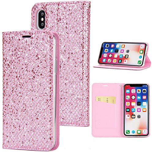 custodia iphone x flip glitter