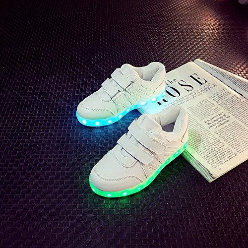 [+Kleines Handtuch]Korean Mode-Schuhe, LED-Licht-emittierende Leucht Lichter blinken Schuhe mit Klettverschluss für männliche und weibliche c0
