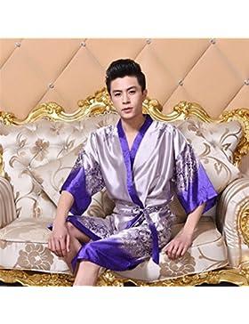 SUxian Gran Albornoz púrpura Plateado de los Hombres Albornoz de Las Mangas Medias Baratas del camisón