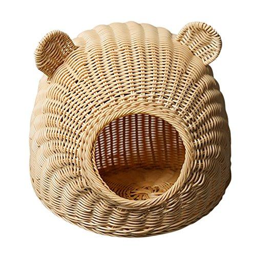 Harz-rattan-möbel (WX-WX Haustier Möbel Katze Bett/Haus Runde Katze Ohren PP Harz Rattan Pure Hand Weaving Primärfarbe Braun 2 Größen zur Auswahl Multifunktion (Farbe : Primärfarbe, größe : 48 * 32cm))