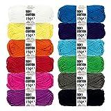 HANSA-FARM Baumwolle (100%) Set - 180g Amigurumi Set (12 x 15g) - Oeko-Tex Standard 100 zertifizierte Amigurumi Wolle zum Stricken & Häkeln in 12 bunten Farben - Amigurumi häkeln mit fairwool