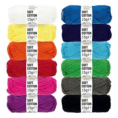 HANSA-FARM Baumwolle (100{01a90f7e39a5bc4cd7dd7f506f8a05cc2b1b860adbbe1944bd48151fe41171cb}) Set - 180g Amigurumi Set (12 x 15g) - Oeko-Tex Standard 100 zertifizierte Amigurumi Wolle zum Stricken & Häkeln in 12 bunten Farben - Amigurumi häkeln mit fairwool