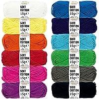 Amigurumi Wolle Set aus 100% Baumwolle - 180g Set (12 x 15g) - Hochwertige Oeko-Tex Standard 100 Wolle zum Stricken & Häkeln in 12 bunten Farben - Amigurumi häkeln mit fairwool