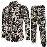 VEMOW Sommer Herbst Winter Mens Casual Langarm Shirt Business Täglich Sport Dating Coole Hübsch Slim Fit Shirt Print Bluse Top + Hosen(Schwarz, EU-44/CN-M)