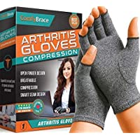 ‏‪ComfyBrace Arthritis Hand Compression Gloves – Comfy Fit, Fingerless Design, Breathable & Moisture Wicking Fabric – Alleviate Rheumatoid Pains, Ease Muscle Tension, Relieve Carpal Tunnel Aches (Small)‬‏