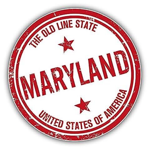 Maryland USA State Grunge Rubber Stamp Car Decor Vinyl Sticker