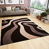 Wohnzimmer Teppich Modern Braun Beige Wellen Muster Friseé Flauschig Weich Konturenschnitt Geprüft von 80x150 cm