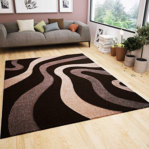 Wohnzimmer Teppich Modern Braun Beige Wellen Muster Friseé Flauschig Weich Konturenschnitt Geprüft von 80x150 cm (Beige-braun-teppich)