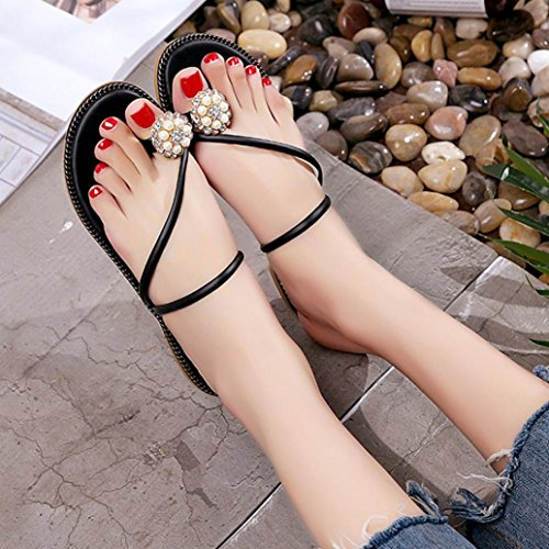 Hunpta Frauen Sommer Strass Schuhe Peep-Toe Halbschuhe römischen Sandalen Damen Flip Flops Schwarz