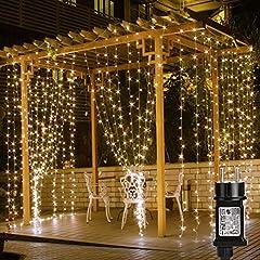 Idea Regalo - LE Tenda Luminosa LED 3 x 3m 306 LED, Luci Stringa Catena Luminosa Impermeabile Bianco Caldo 3000K, 8 Modalità di Illuminazione e Funzione Memoria per Decorazioni Interni, Feste, Natale, ecc.
