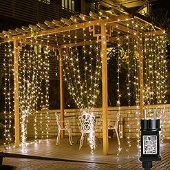LE Tenda Luminosa LED 6 x 3m 594 LED per Finestra, Stringa Luce Catena Luminosa Impermeabile Bianco Caldo, 8 Modalità di Illuminazione, Luci Fatate per Decorazione Feste Natale Capodanno ecc.