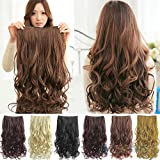 #5: Artifice Super Volume 200g 26 Inch 5 Clips Curly/ Wavy Hair Extension Maroon+Brown)