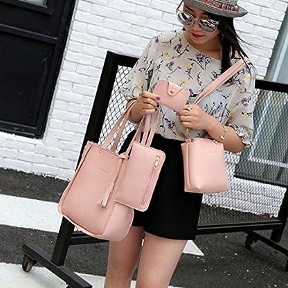 Handbag, Shoulder Bags,TUDUZ Women Fashion Casual Four Set tassel Handbag Shoulder Bags Four Pieces Tote Bag Messenger… 8