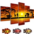 Prestigeart Pictures and Art Prints 0002516 0002527 0002532 African Sunset Image on Canvas 110 x 60 cm and 170 x 100 cm and 200 x 100 cm 5 Parts produced by Bilder & Kunstdrucke PRESTIGEART - quick delivery from UK.