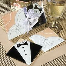 Lote de 20 Set de 2 Posavasos Cristal NOVIOS - Detalles de bodas Posavasos