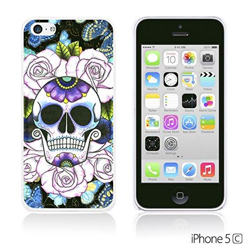 OBiDi - Skull Pattern Hardback Case / Housse pour Apple iPhone 5C - Floral Skull Purple Skull With Butterfly
