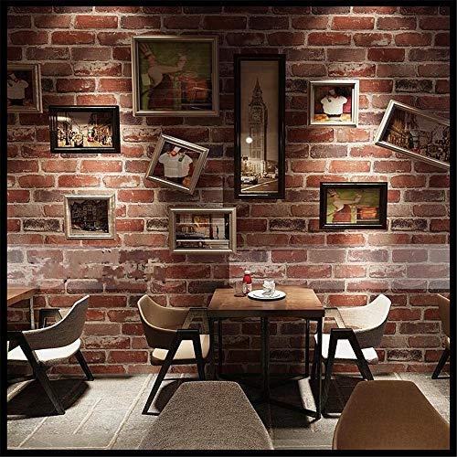 Tapeten Wandbild WandaufkleberRetro Nostalgie 3D Stereo Ziegel Tapete Cafe Bar Restaurant Kultur Stein Red Brick Wall Papier Papel De Parede (Brick Red Papier)