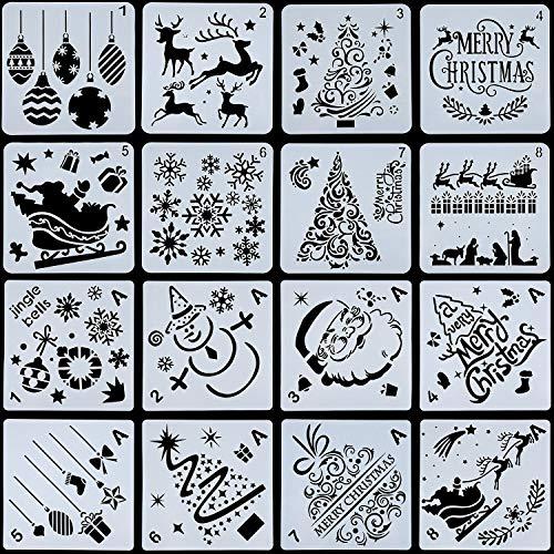 Outus 16 Stück Weihnachten Schablonen Vorlage Wiederverwendbare Kunst Handwerk für Kunst Zeichnung Malerei Sprühen Fenster Glastür Karosserie