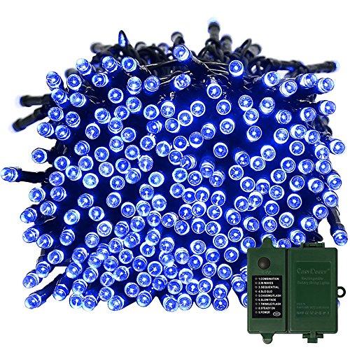 Batteriebetriebene Lichterkette String Lights mit Timer, 200 LED 21ft Wasserdicht blaue Fee Lichter für Weihnachten Außenlichterkette, Garten, Patio, Hof, Haus, Bäume, Parteien, Jäten, Urlaub Dekorationen (wiederaufladbare Batterie enthalten)