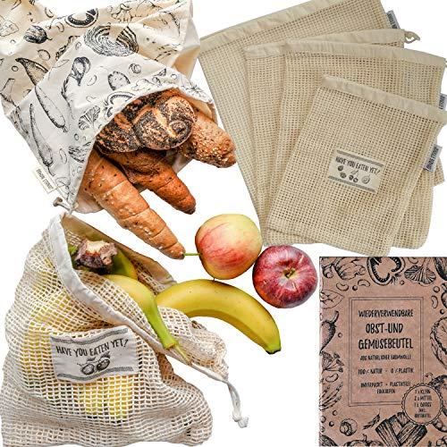 Jungle Nomad 5er Set Wiederverwendbare Obst- und Gemüsebeutel aus Baumwolle Einkaufstaschen mit Brotbeutel (S, 2 x M, L + Brotbeutel)