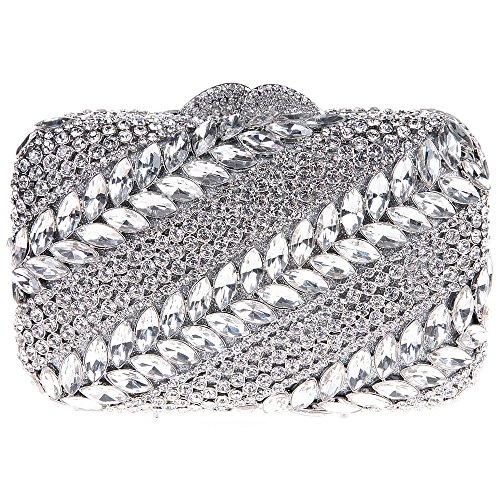 Santimon Donna Pochette Borsa Stripe Twill Borsetta Borse Da Festa di Nozze Sera Con Tracolla Amovibile 3 Colori argento