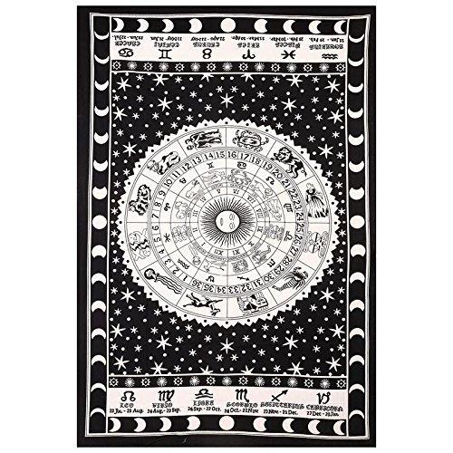 Schwarz und Weiß Tapisserie Wandbehang Sternzeichen Zodiac indischen Astrologie Hippie Wand Gobelin für Schlafräume Boho Twin Betten Zodiac...