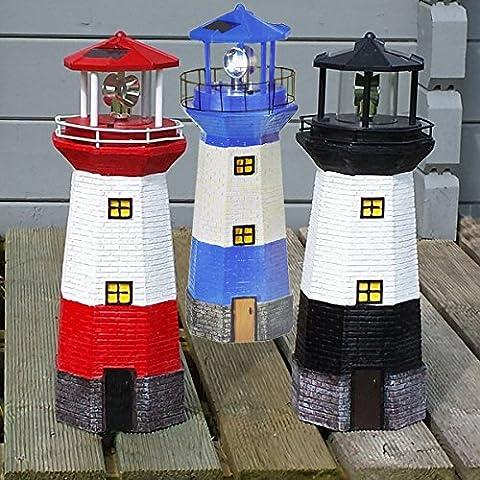 Leuchtturm Solar Garten Maritim LED Lampe Leuchte Gartenfigur Rot Schwarz Blau 38cm