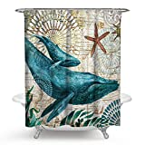 RISHIL WORLD Sea Turtle Octopus Waterproof Shower Curtains with 12 Hooks Fabric Blue Printed Polyester Durable