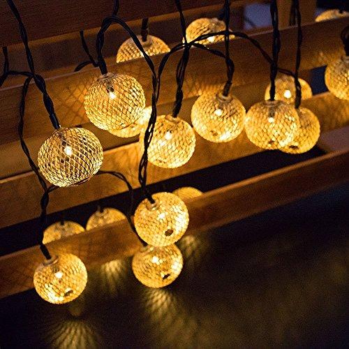 LED Lichterketten im Freien, SUAVER 15,7ft 20LED Laternen Geometrische Metall Solar Lichterketten, Dekoration Lichter für Weihnachten Garten Rasen Patio Bäume Hochzeiten Parteien (Laterne)