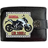 HONDA Cb1000r Weiß Bild auf KLASSEK Marken RFID Herren Geldbörse Portemonnaie Echtes Leder Motorrad Bike Zubehör Geschenk mit Metall Box NICHT OFFIZIELLE HONDA Produkte