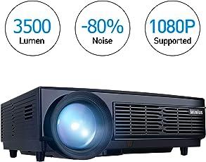 """3500 Lumens Beamer, 1080P HD 5.8"""" LCD Beamer mit 200"""" Bildschirm, WiMiUS LED Projeckot für Film Unterhaltung Spiele, 50000 Stunden, unterstützt HDMI VGA USB AV Micro SD Schwarz (2018 Verbesserte Version)"""